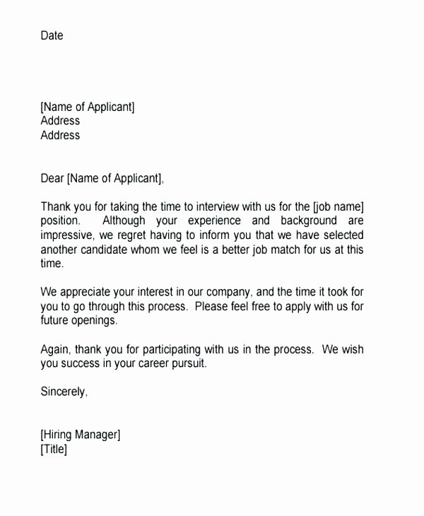 employment rejection letter template interview after phone unsuccessful award job sample candidates