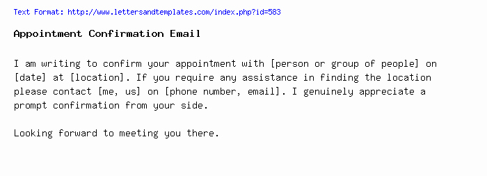 Appointment Confirmation Email Template Beautiful Appointment Confirmation Email