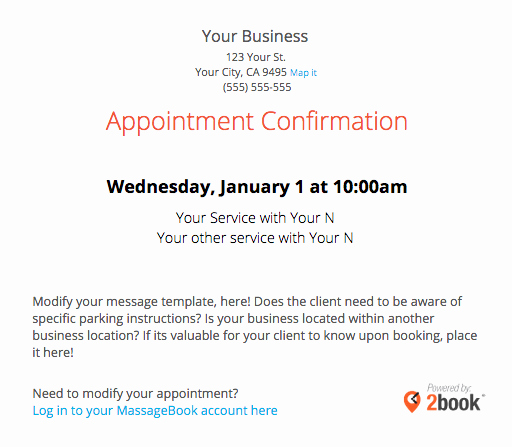 Appointment Confirmation Email Template Beautiful Sending Automated Appointment Emails to Clients – Massagebook