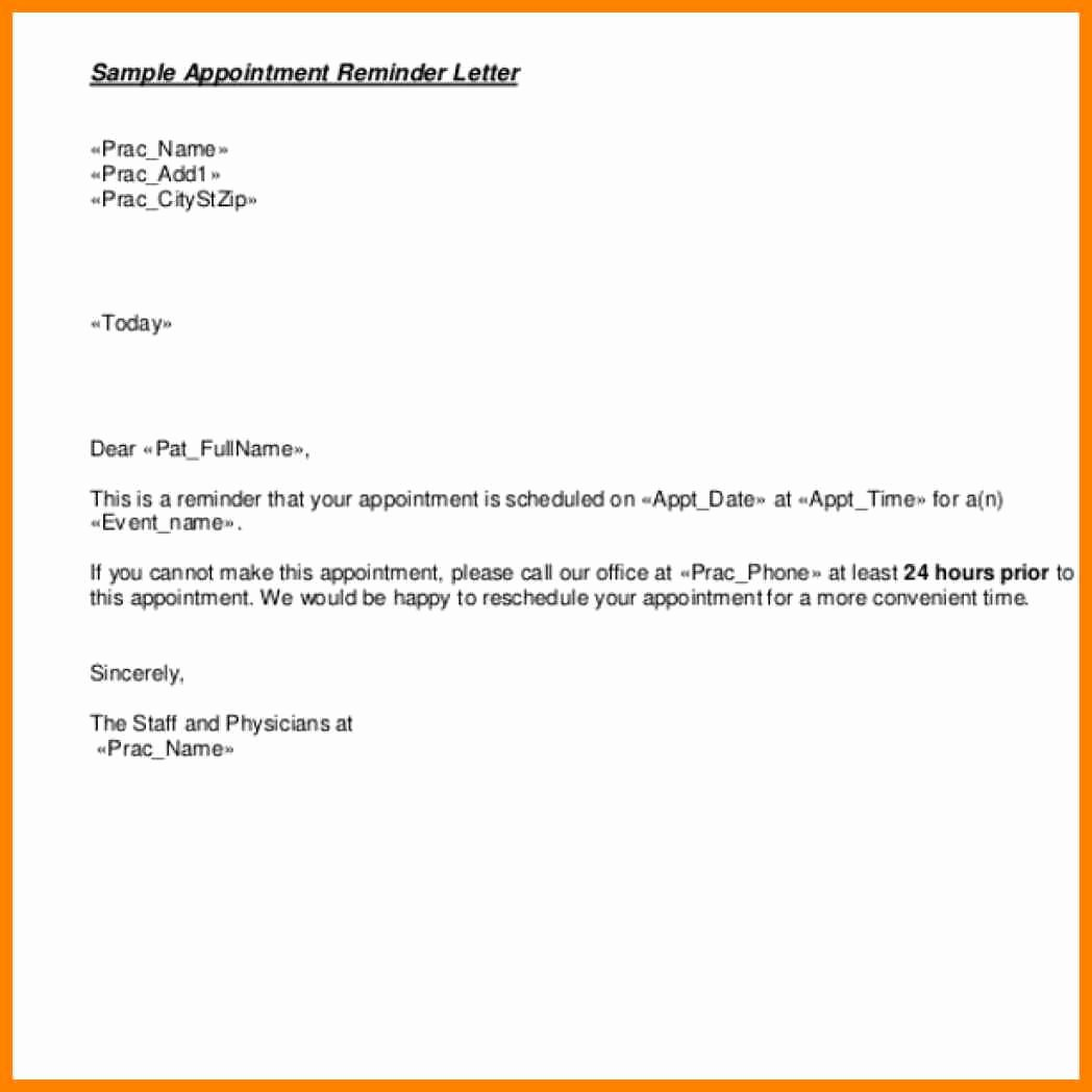 Appointment Confirmation Email Template Best Of Appointment Reminder Letter Templates