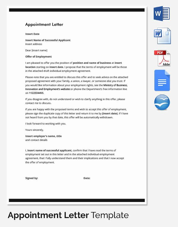 Appointment Confirmation Email Template New 33 Appointment Letter Templates Free Sample Example