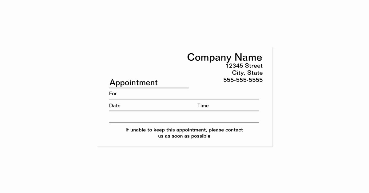 Appointment Reminder Card Template Awesome Appointment Reminder Business Card