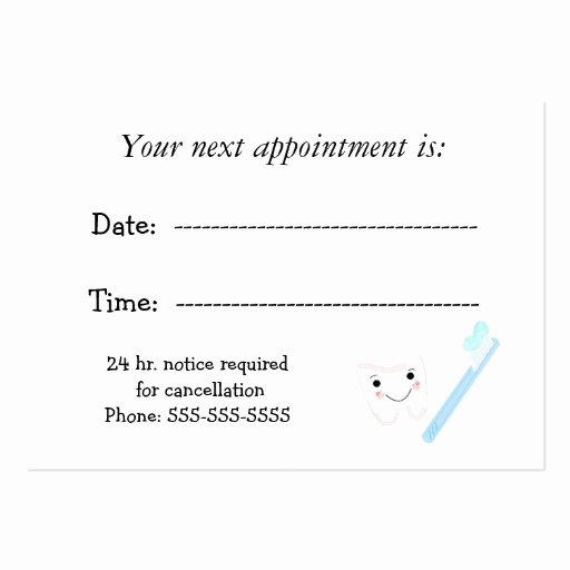 Appointment Reminder Card Template Awesome Dental Appointment Business Cards Pack 100