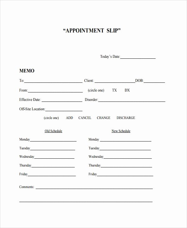 Appointment Reminder Card Template Awesome Sample Appointment Slip Template 7 Free Documents