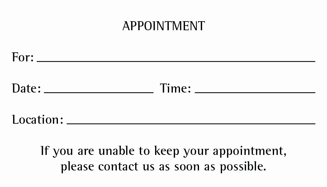 Appointment Reminder Card Template Beautiful Free Appointment Reminder Template Cards Letter Templates