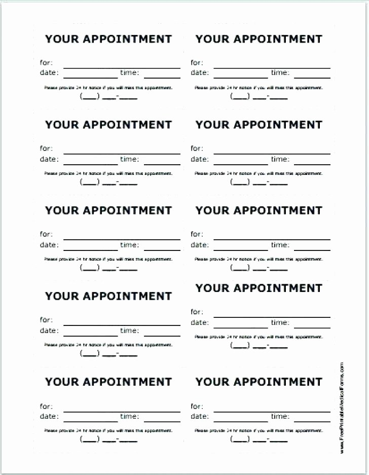 Appointment Reminder Card Template Inspirational Appointment Card Template – Pogovorimfo