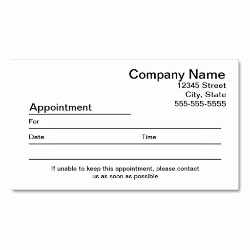 Appointment Reminder Card Template Luxury Appointment Reminder Business Card