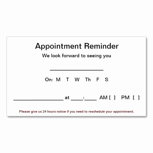 Appointment Reminder Card Template Luxury Appointment Reminder Cards 100 Pack White Business Card