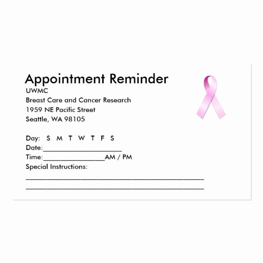 Appointment Reminder Card Template Luxury Pink Ribbon Appointment Reminder Business Card
