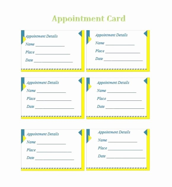 Appointment Reminder Card Template New 40 Appointment Cards Templates & Appointment Reminders