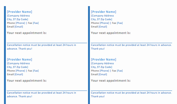 Appointment Reminder Cards Template Best Of Appointment Card Template format Example