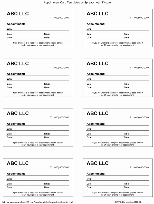 Appointment Reminder Cards Template Fresh 9 Best Of Blank Printable Appointment Cards Free