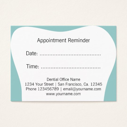 Appointment Reminder Cards Template New Dentist Appointment Reminder Cards