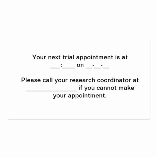 Appointment Reminder Cards Template New Trial Appointment Reminder Business Card Template