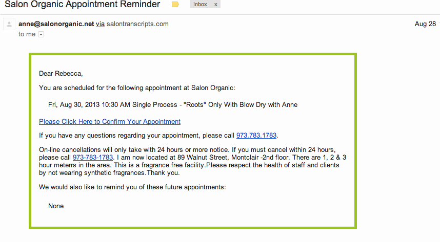Appointment Reminder Email Template Beautiful Save Time and Book Your Next Salon organic Appointment