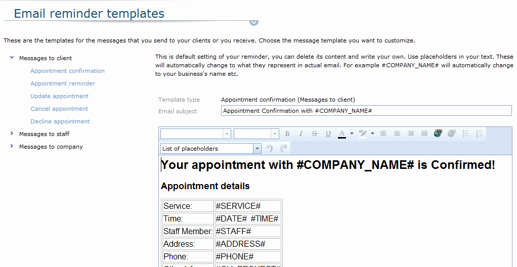 Appointment Reminder Email Template Fresh Email Appointment Reminders