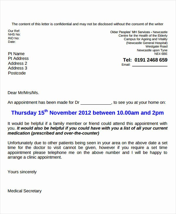 Appointment Reminder Email Template Inspirational 9 Doctor Appointment Letter Templates Doc Pdf