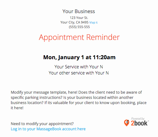 Appointment Reminder Letter Template Unique Sending Automated Appointment Emails to Clients – Massagebook
