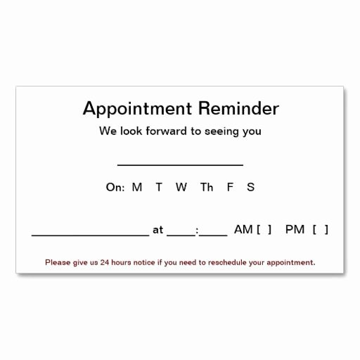 Appointment Reminder Template Word Awesome Appointment Reminder Cards 100 Pack White