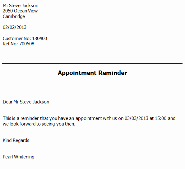 Appointment Reminder Template Word Awesome Appointment Reminder Letter software Appointment
