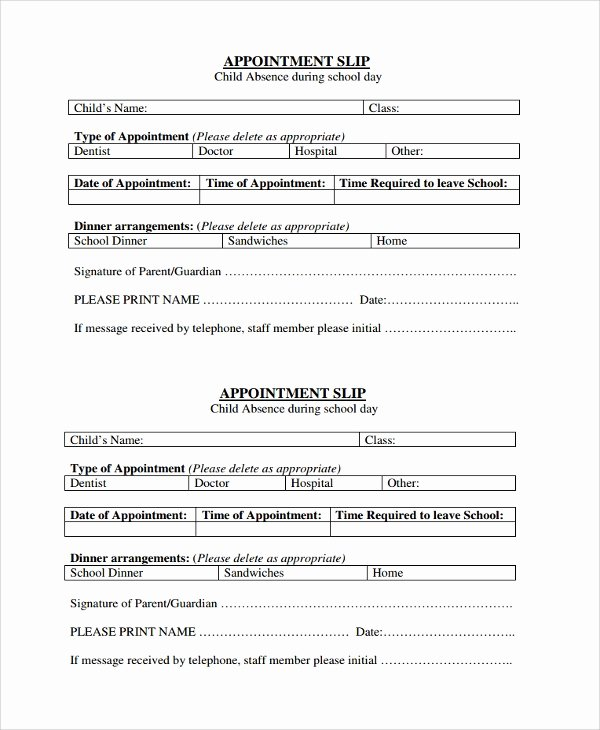 Appointment Reminder Template Word Best Of Sample Appointment Slip Template 7 Free Documents