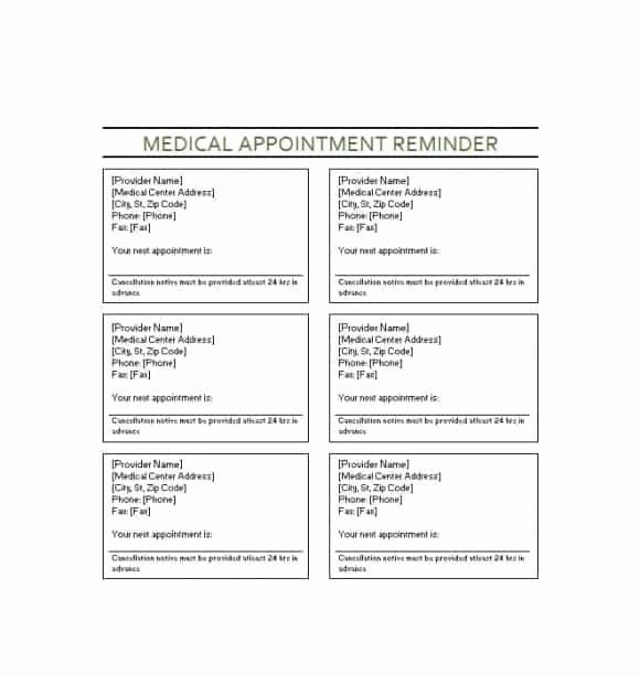Appointment Reminder Template Word Inspirational 40 Appointment Cards Templates & Appointment Reminders