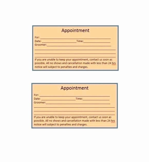 Appointment Reminder Template Word Inspirational Appointment Card Template – Pogovorimfo