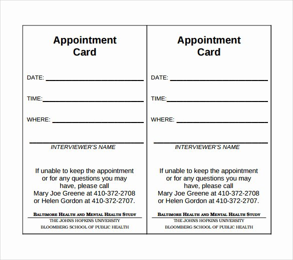 Appointment Reminder Template Word Lovely Sample Appointment Cards Bing Images