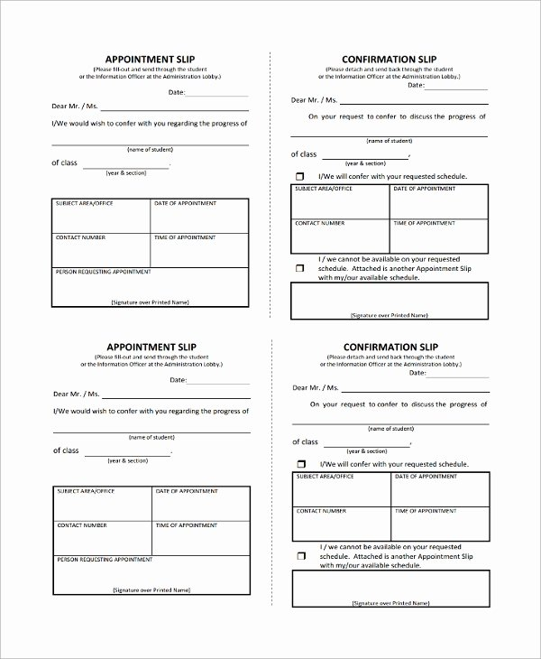 Appointment Reminder Template Word Luxury 8 Appointment Slip Templates