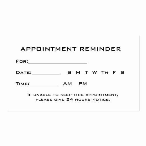 Appointment Reminder Template Word Luxury Appointment Card Templates Free