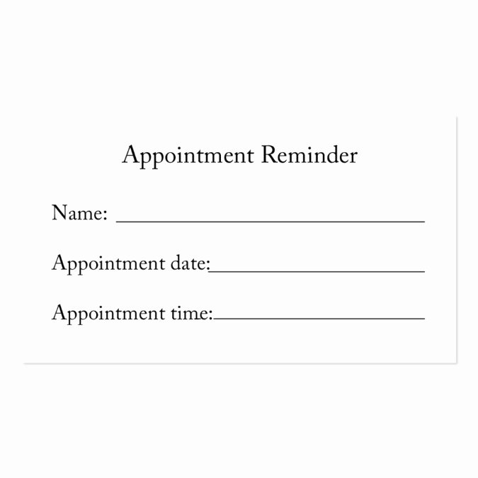 Appointment Reminder Template Word Luxury Appointment Reminder Card Business Card Template