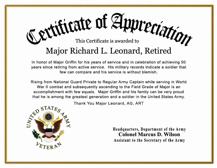 Army Promotion Certificate Template Awesome Army Good Conduct Medal Certificate Template Condo