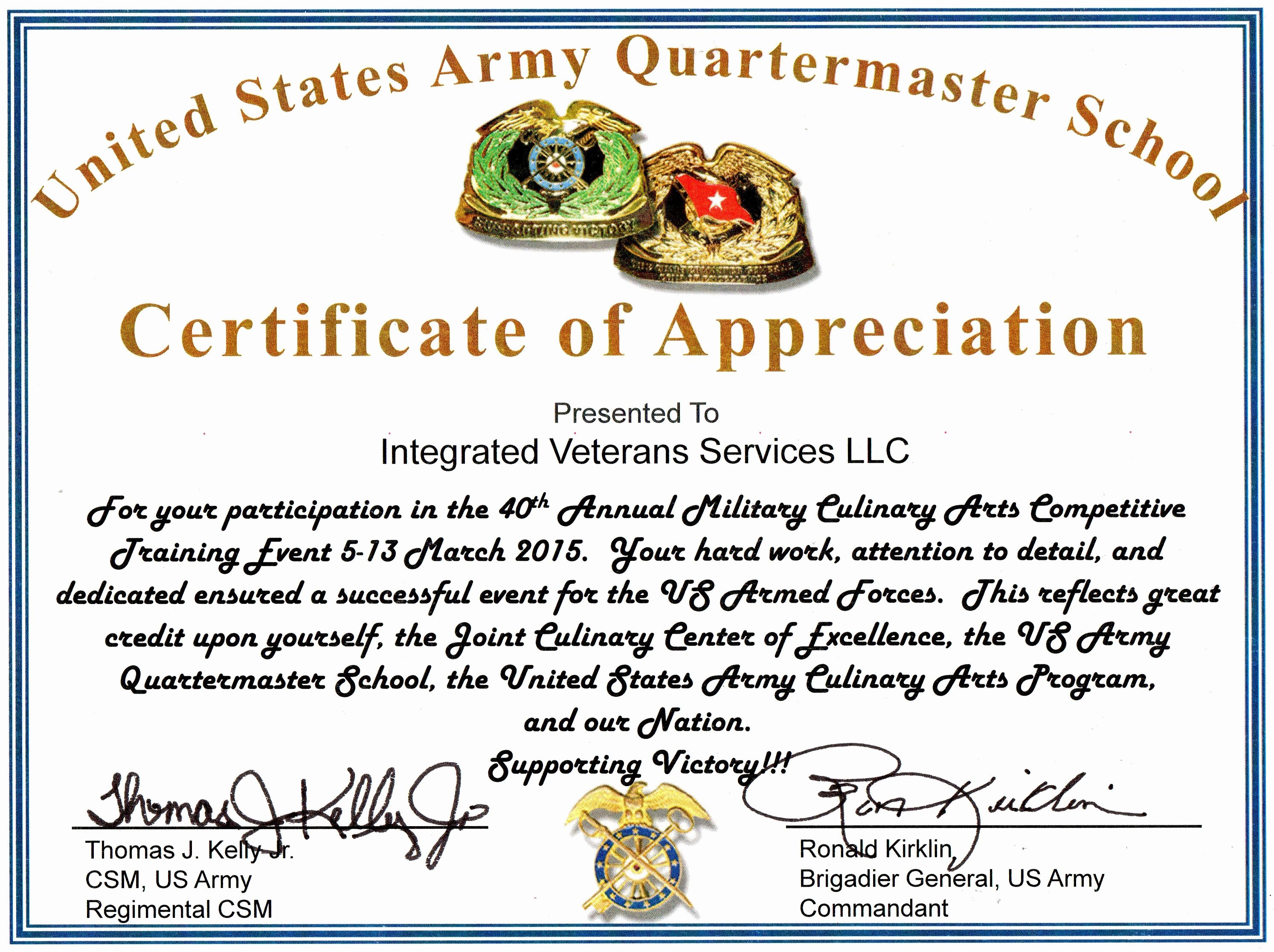 Army Promotion Certificate Template Fresh Army Certificate Appreciation Bamboodownunder