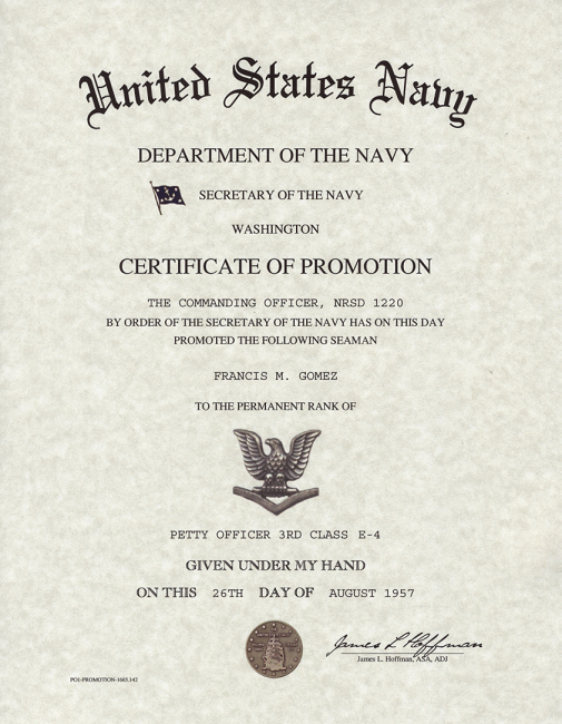 Army Promotion Certificate Template Fresh Navy Enlisted Promotion Certificates