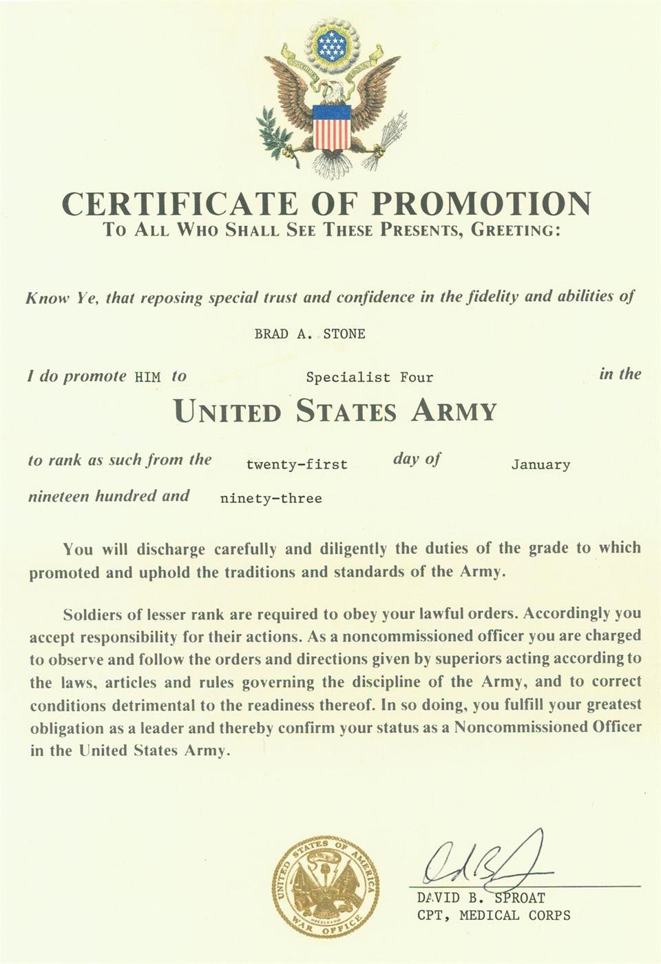 Army Promotion Certificate Template Lovely Promotion Certificate Template