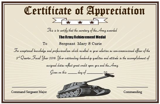 Army Promotion Certificate Template Luxury 20 Professional Army Certificate Of Appreciation