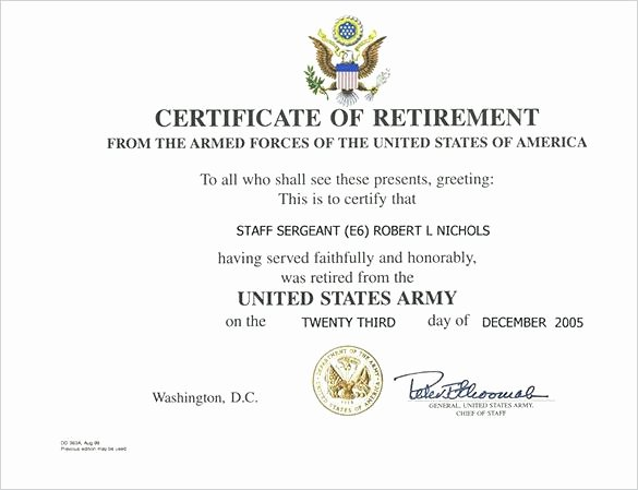 Army Promotion Certificate Template Luxury Free Retirement Certificates Template Download Army