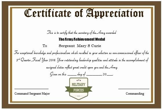 Army Promotion Certificate Template Unique Certificate Appreciation Army Promotion Points
