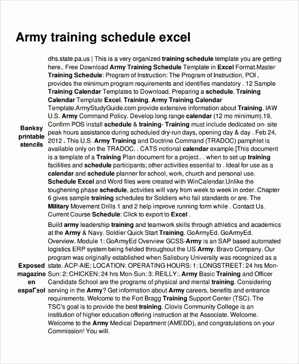 Army Training Plan Template Best Of 17 Training Schedule Templates