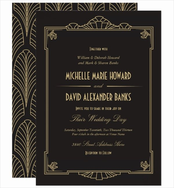 Art Deco Invitation Template Awesome 13 Art Deco Invitation Designs & Templates Psd Ai