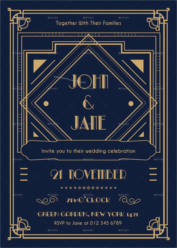 Art Deco Invitation Template Best Of 10 Art Deco Wedding Invitations Free Psd Vector Ai