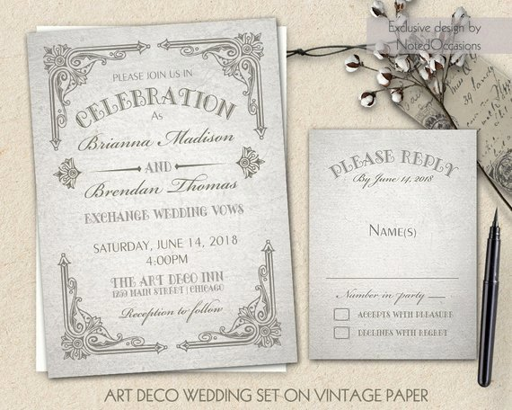 Art Deco Invitation Template Best Of Art Deco Wedding Invitation Printable Set Great by