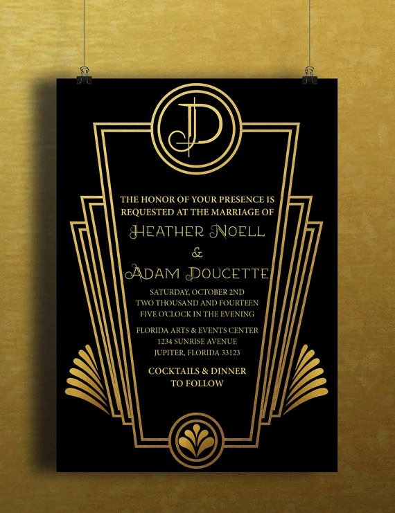 Art Deco Invitation Template Elegant 25 Best Ideas About Black Gold Party On Pinterest