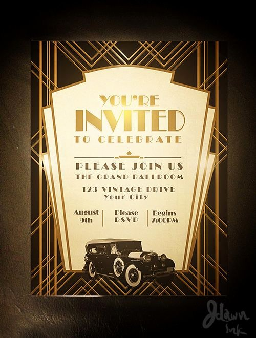 Art Deco Invitation Template Elegant Art Deco Gatsby Party Invitation Design Template Available
