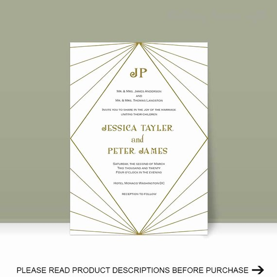 Art Deco Invitation Template Elegant Items Similar to Art Deco Invitation Template Wedding