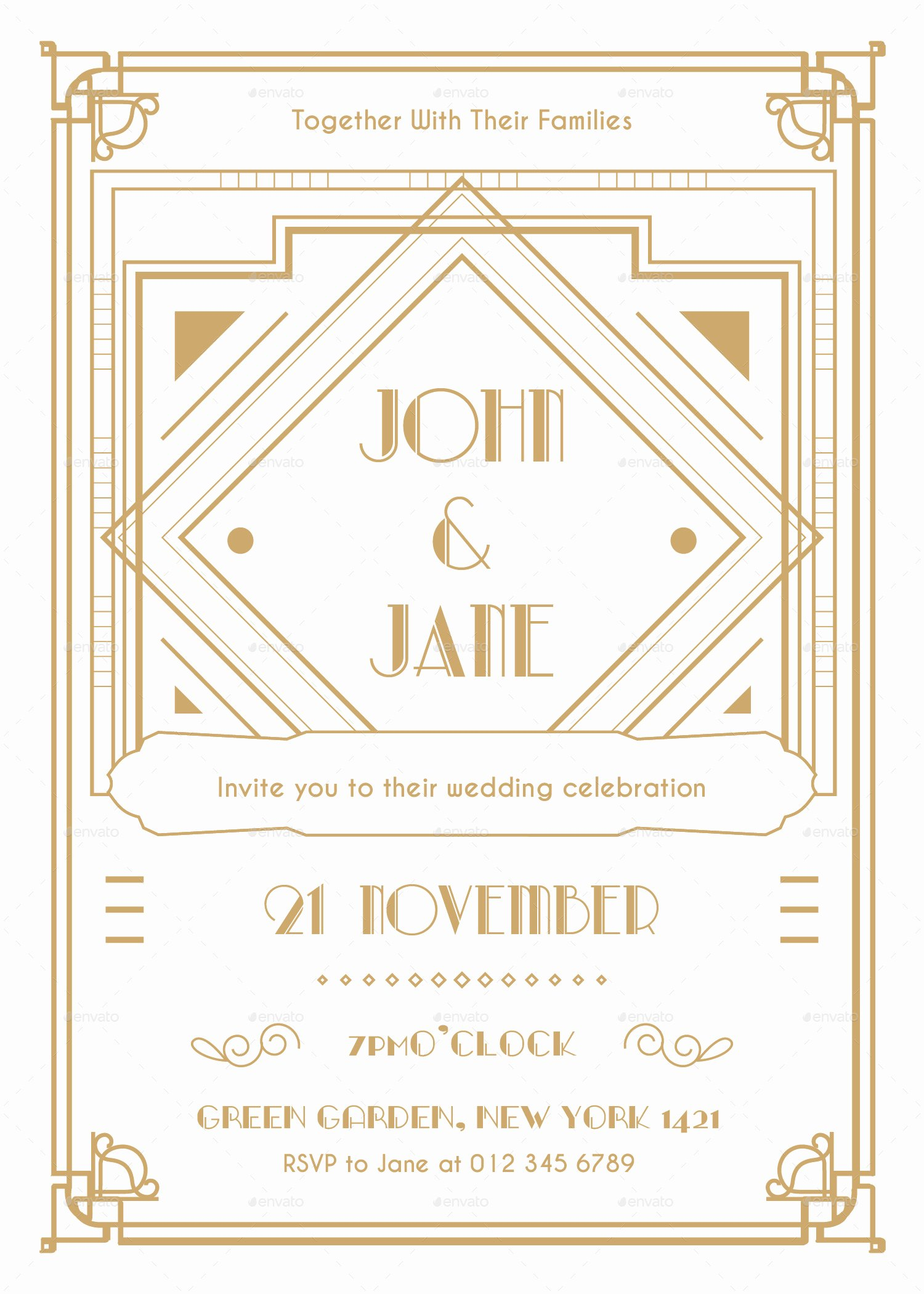 Art Deco Invitation Template Fresh Art Deco Wedding Invitation by Infinite