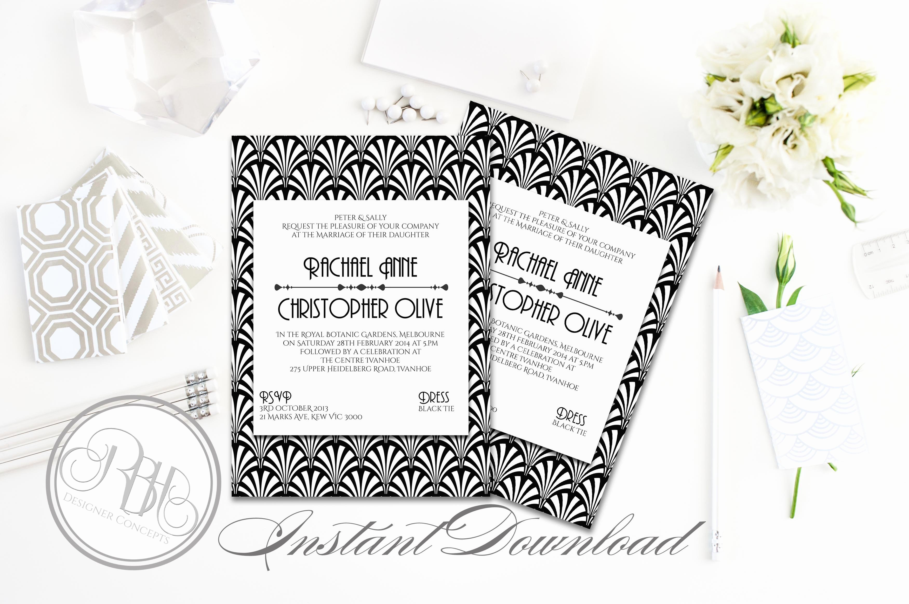 Art Deco Invitation Template Lovely Art Deco Wedding Invitation Sienna Wedding Templates