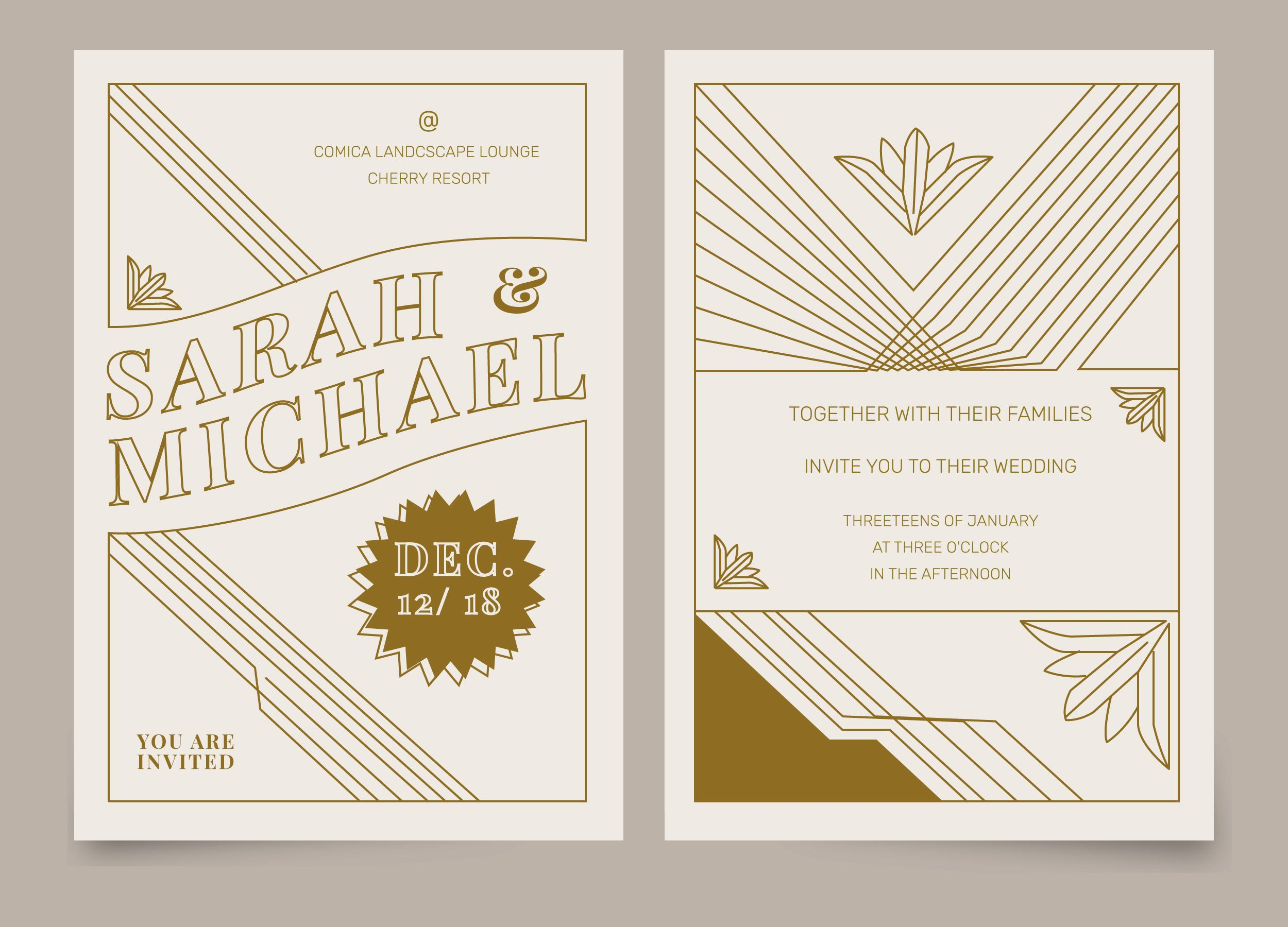 Art Deco Invitation Template Lovely Brown Vintage Art Deco Hochzeitseinladungs Vektor