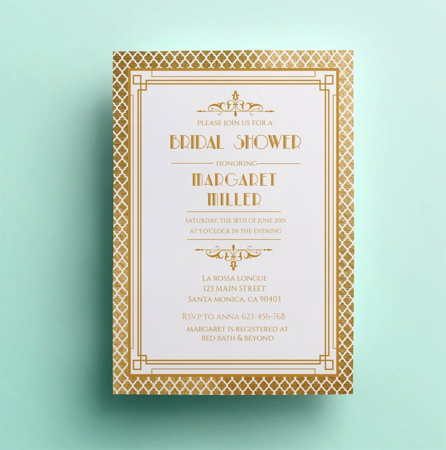 Art Deco Invitation Template Luxury Art Deco Bridal Shower Invitation Template Printable Bridal