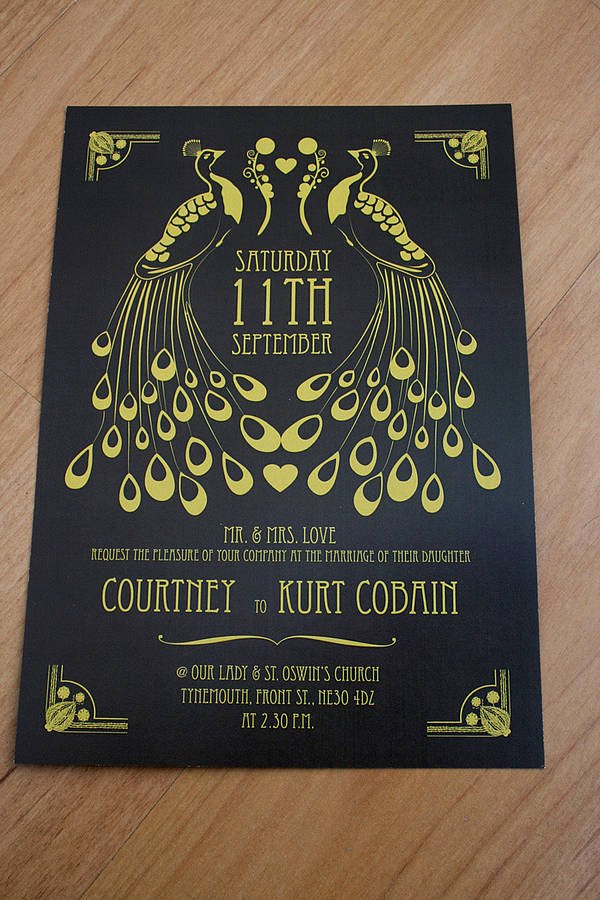 Art Deco Invitation Template New Peacock Art Deco Wedding Invitation by Magik Moments